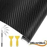 AOBETAK Carbon Folie Auto Matt schwarz mit Kunststoffschabern, 300 cm x 30 cm Vinyl Selbstklebend Carbonfolie für Auto und Motorrad DIY, Innen/Außen, 3D-Effekt Autoaufkleber Autofolie