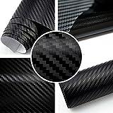 TipTopCarbon 6,57€/m² 3D Carbon Folie schwarz BLASENFREI 1m x 1,52m mit Luftkanäle Autofolie selbstklebend